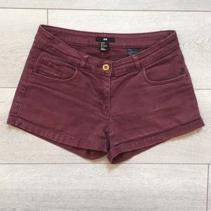 H&M Maroon Jean Shorts